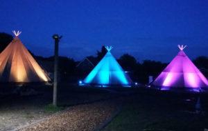 Reitanlage Dümpenhof Zelte bei Nacht